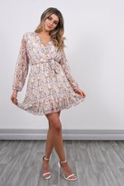 Lucy Sparks Long Sleeve Floral Mini Dress | White
