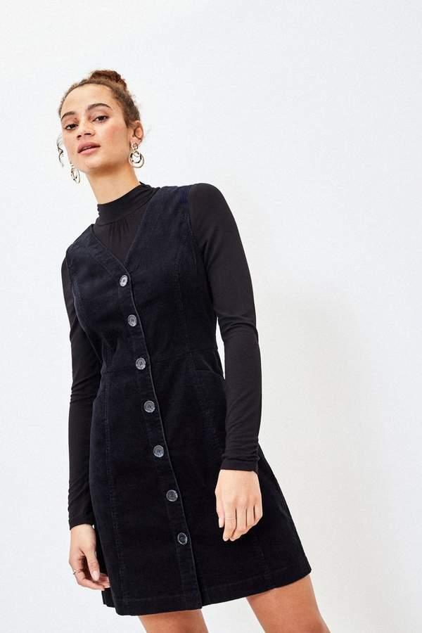 Oasis Womens Cord Button Shift Dress - Blue