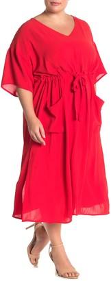 GOOD LUCK GEM Drawstring Waist Midi Dress (Plus Size)