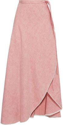 Miguelina Ballerina Crochet-trimmed Linen Maxi Wrap Skirt