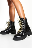 boohoo Wide Fit Croc Double Lace Chunky Hiker Boots