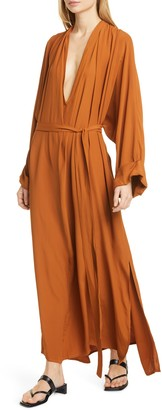 Rodebjer Mabelin Plunge Neck Long Sleeve Maxi Dress