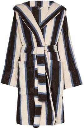 Tekla Stripe-Pattern Hooded Robe