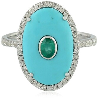 Artisan 18k White Gold Emerald Turquoise Cocktail Ring Pave Diamond Gemstone Jewelry Black Friday Sale