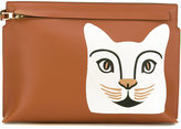 Loewe cat 'T' pouch - women - Cotton/Linen/Flax/Calf Leather - One Size