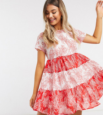 Wednesday's Girl mini smock dress with tiers in contast paisley print