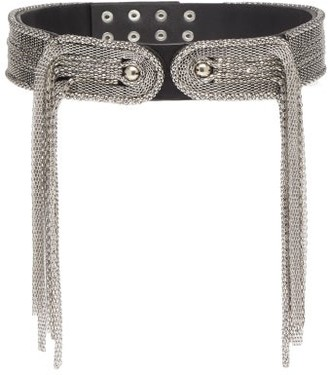 Christopher Kane Chain-embellished Leather Belt - Silver