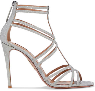 Aquazzura Princess 105 Glittered Woven Sandals