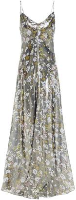 Ganni Cutout Floral-print Silk-blend Lame Maxi Slip Dress