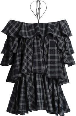 Tome Off-the-shoulder Checked Tiered Cotton Top
