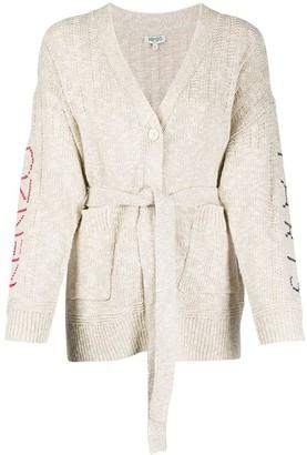 Kenzo Paris intarsia belted cardigan