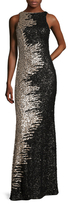 Mac Duggal Mesh Sequin Floor Length Dress