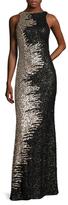 Mac Duggal Mesh Sequin Floor Length Dress
