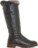 Dune Ladies Black Tayner - Faux Fur Trim Flat Knee High Bo