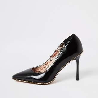 River Island Black beaded trim high heel court shoes