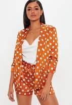 Missguided Orange Polka Dot Gathered Sleeve Blazer