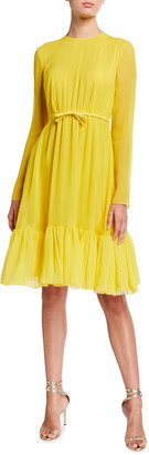 Giambattista Valli Pleated Ruffle-Hem Silk Dress