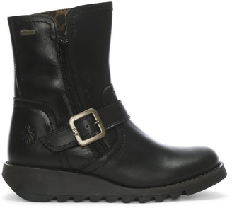 Fly London Seku Black Leather Low Wedge Buckled Ankle Boots