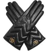 Gucci Chevron-quilted leather gloves