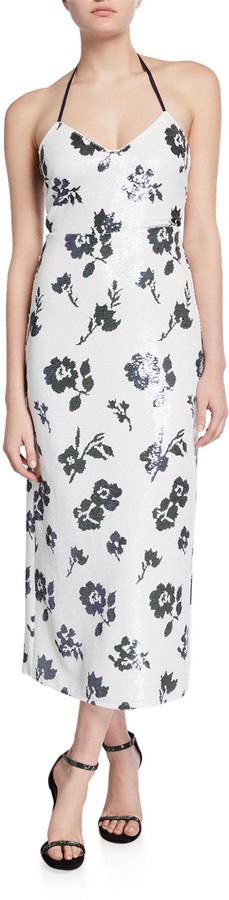 Self-Portrait Sleeveless Floral Sequined Midi Dress