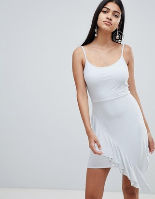 Rare London asymmetric frill hem mini dress