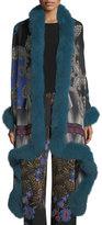 Etro Paisley Shawl with Fur Trim