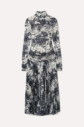 Victoria Victoria Beckham Victoria, Victoria Beckham - Pleated Printed Stretch-jersey Turtleneck Midi Dress - Ivory