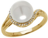 Lord & Taylor 9MM White Freshwater Pearl, Diamond and 14K Yellow Gold Ring