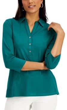 Charter Club Supima Cotton 3/4-Sleeve Polo, Created for Macy's