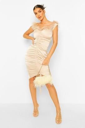 boohoo Feather Trim Off The Shoulder Midi Dress