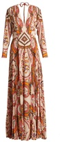 Etro Bengal floral-print pleated crepe gown