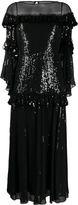 Temperley London Sylvan tiered sequin chiffon midi dress