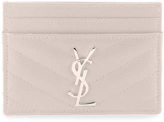 Saint Laurent Monogramme Grain de Poudre Leather Card Case, Silvertone Hardware