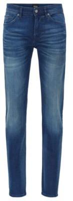 HUGO BOSS Slim-fit jeans in dark-blue super-stretch denim