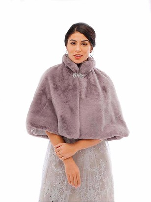Awanka Women's Wedding Faux Fur Wraps and Shawls Bridal Fur Stoles Scarf with Crystal Brooch for Bride and Bridesmaids (Purple)