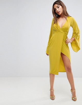 Asos Design ASOS Deep Plunge Slinky Ruched Kimono Dress