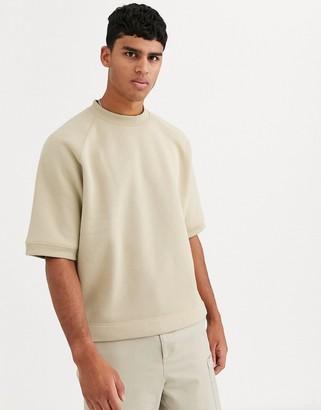 Asos oversized short sleeved sweatshirt in stone-Beige