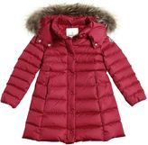 Moncler New Neste Nylon Down Coat W/ Fur Trim