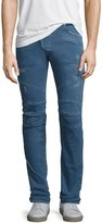 Pierre Balmain Distressed Twill Moto Slim-Straight Jeans, Light Blue
