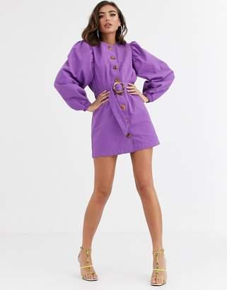 Asos Design DESIGN denim puff sleeve retro belted mini dress in purple