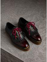 Burberry Lace-up Kiltie Fringe Riveted Leather Shoes