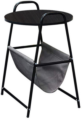 Qwork Small Round End Table, Black Willow