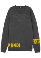 Fendi Grey Logo-intarsia Wool Jumper