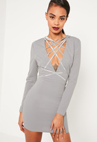 Missguided Grey Crepe Strap Detail Bodycon Dress