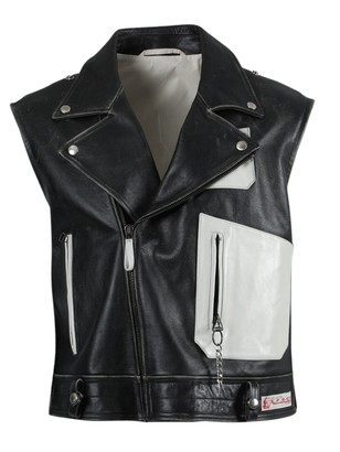 Raf Simons Black And White Sleeveless Perfecto Vest Jacket