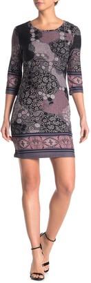 Papillon Paisley Print Brushed Knit Sheath Dress