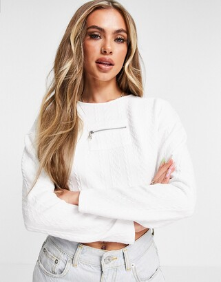 Parisian textured sweater with zip detail co-ord in white