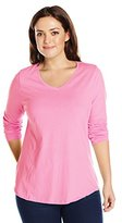 Just My Size Women's Plus-Size Long-Sleeve V-Neck T-Shirt