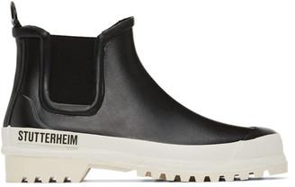 Stutterheim Black and White Rainwalker Chelsea Boots