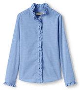 Classic Little Girls Ruffle Neck Woven Blouse-Light Blue